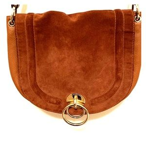 DVF Love Power Large Suede Saddle Bag in TOBACCO